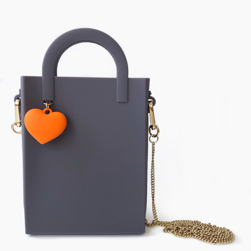 Mini Tote Bag with Heart Charm (Grey)
