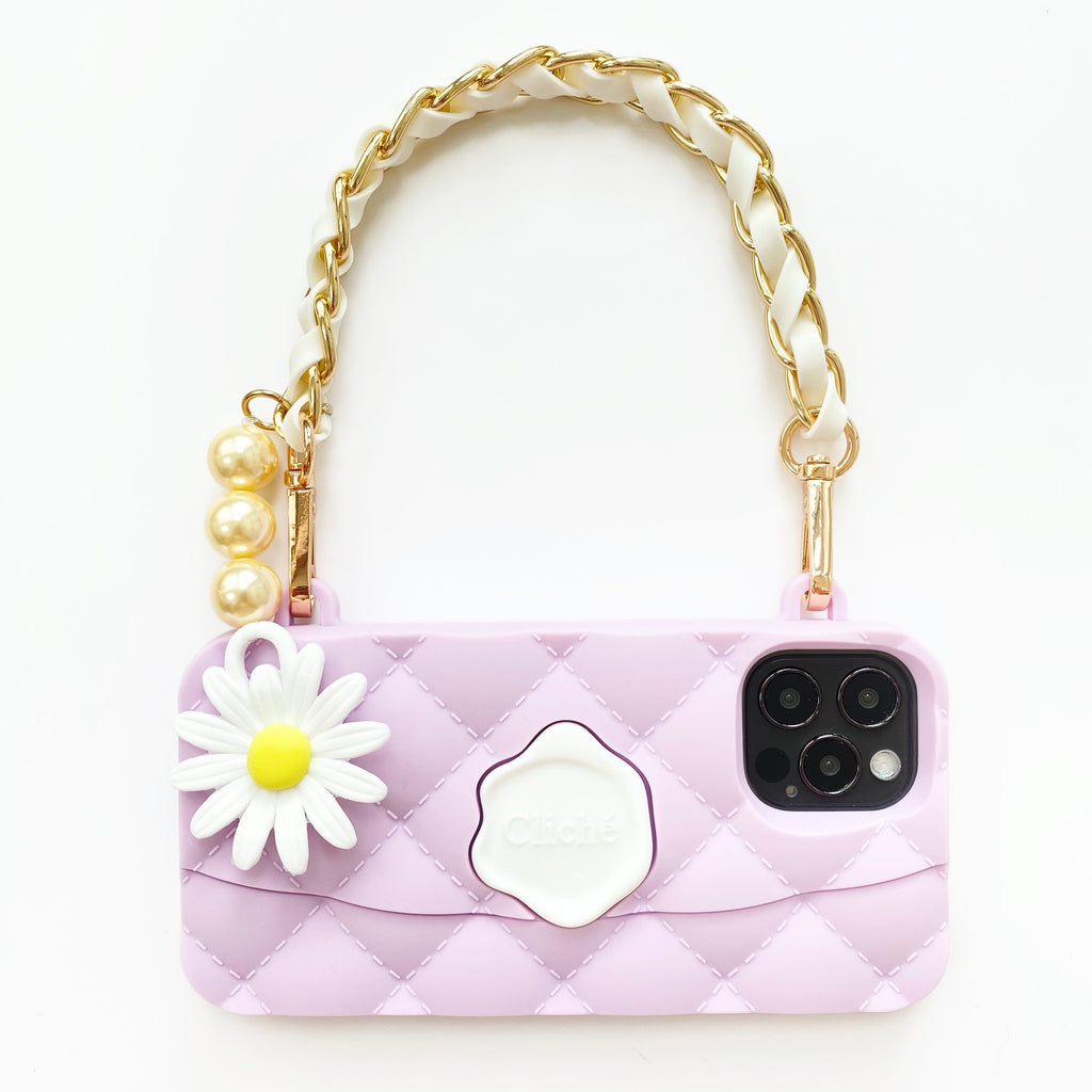 iPhone 12 / 12 Pro Purple Seal Stamped Case with Daisy Charm Strap