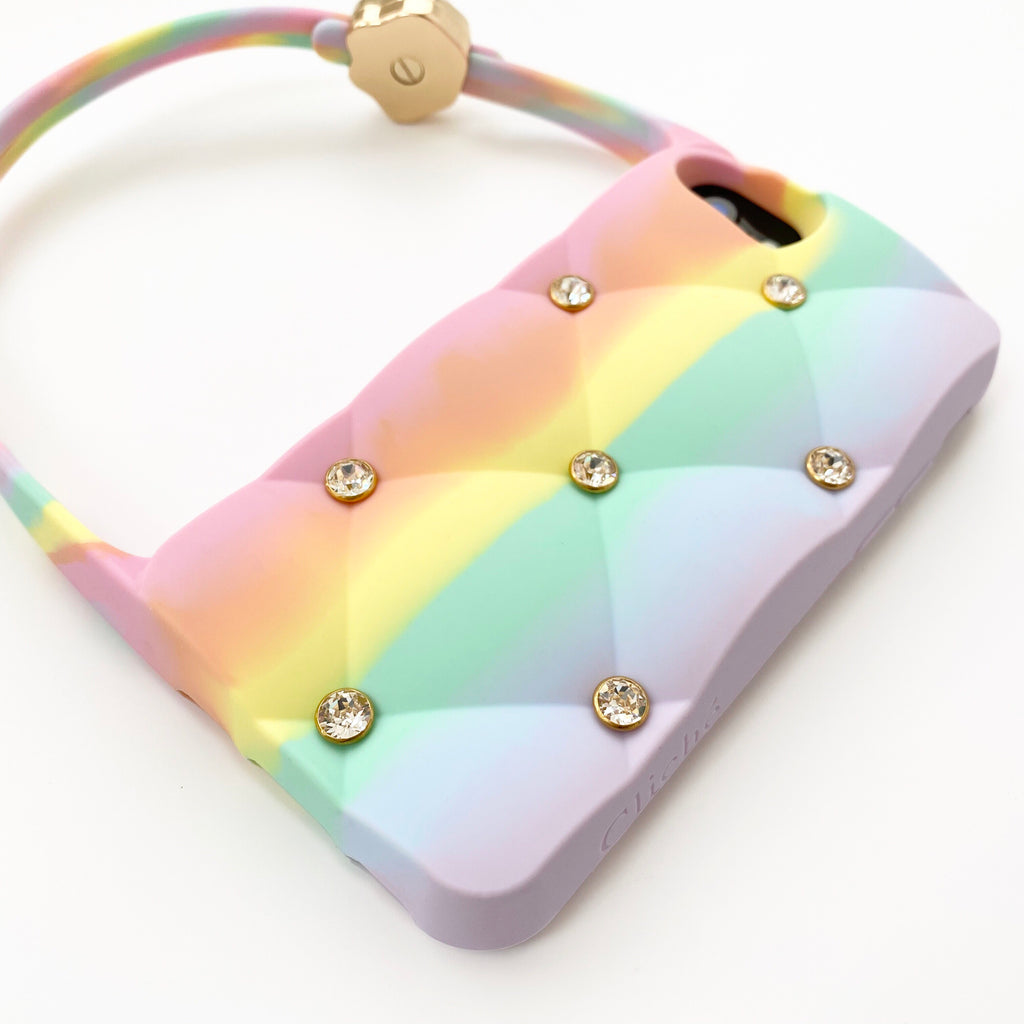 iPhone SE Rainbow Quilted Hobo Bag Case with Swarovski Stones