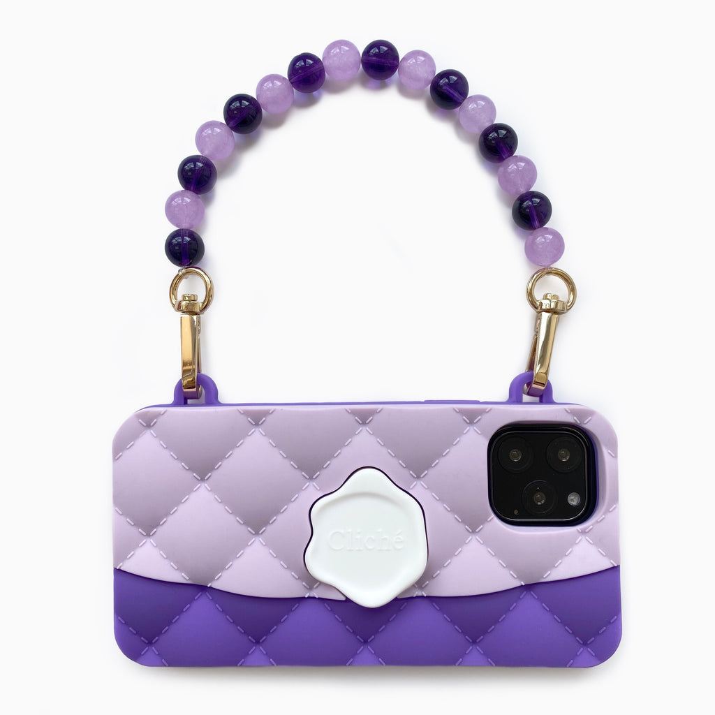 iPhone 11 Pro Purple Seal Stamped Case with Purple Crystal Strap