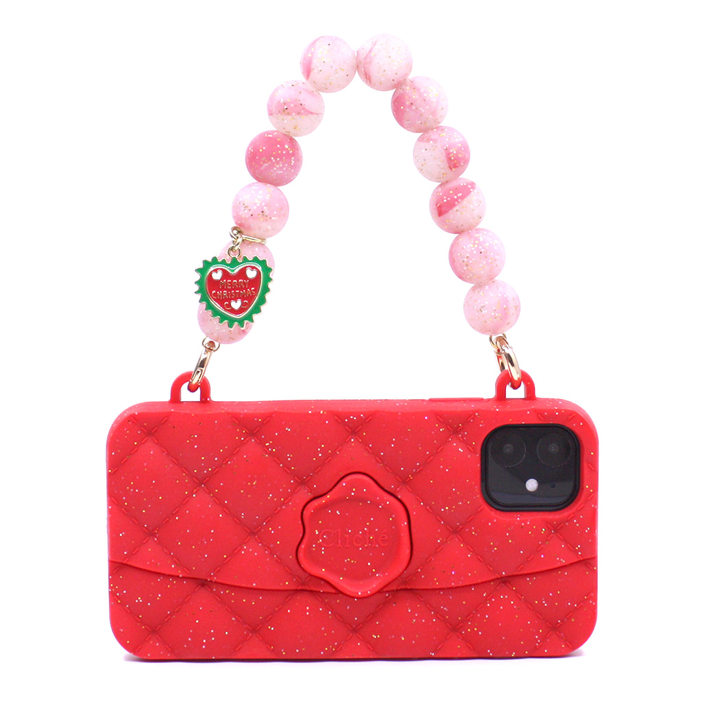 iPhone 11 Red Festive Seal Stamped Case with Glitter Strap