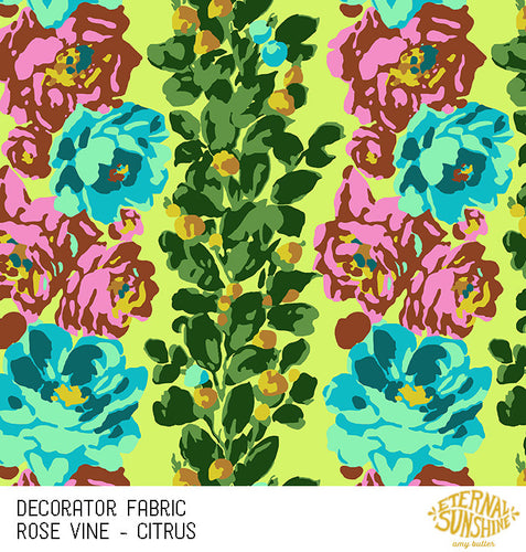 Amy Butler Decorator Sateen Rose Vine Citrus