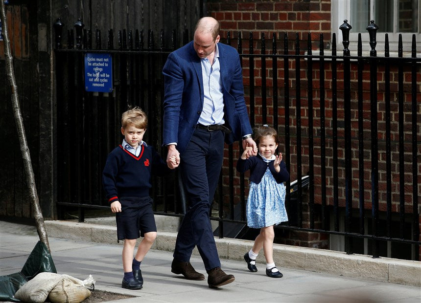 Prince William with Prince George and Princess Charlotte on Way to Meet New Baby Brother