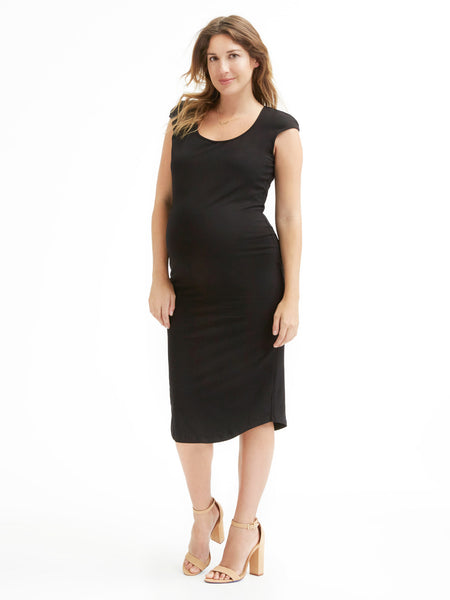 Monrow Cap Sleeve Dress - Black | TILDEN