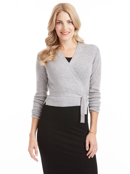 Rebecca Taylor Ballet Wrap Cardigan - Heather Grey | TILDEN