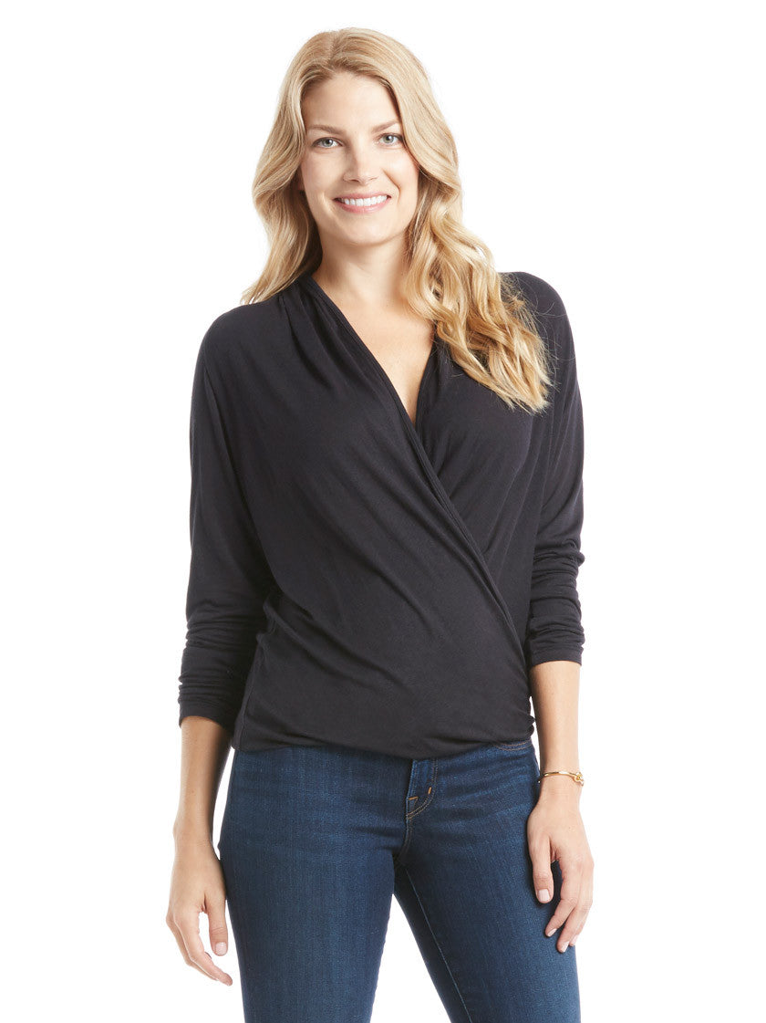 David Lerner Wrap Top - Black | TILDEN