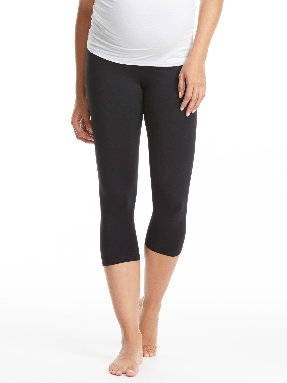 60c6f6b1dcaea9 David Lerner Cropped Maternity Leggings - Black | TILDEN