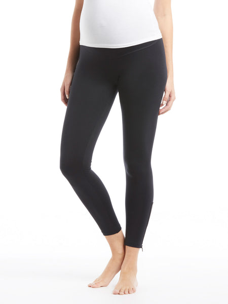 David Lerner Maternity Zipper Legging - Black | TILDEN