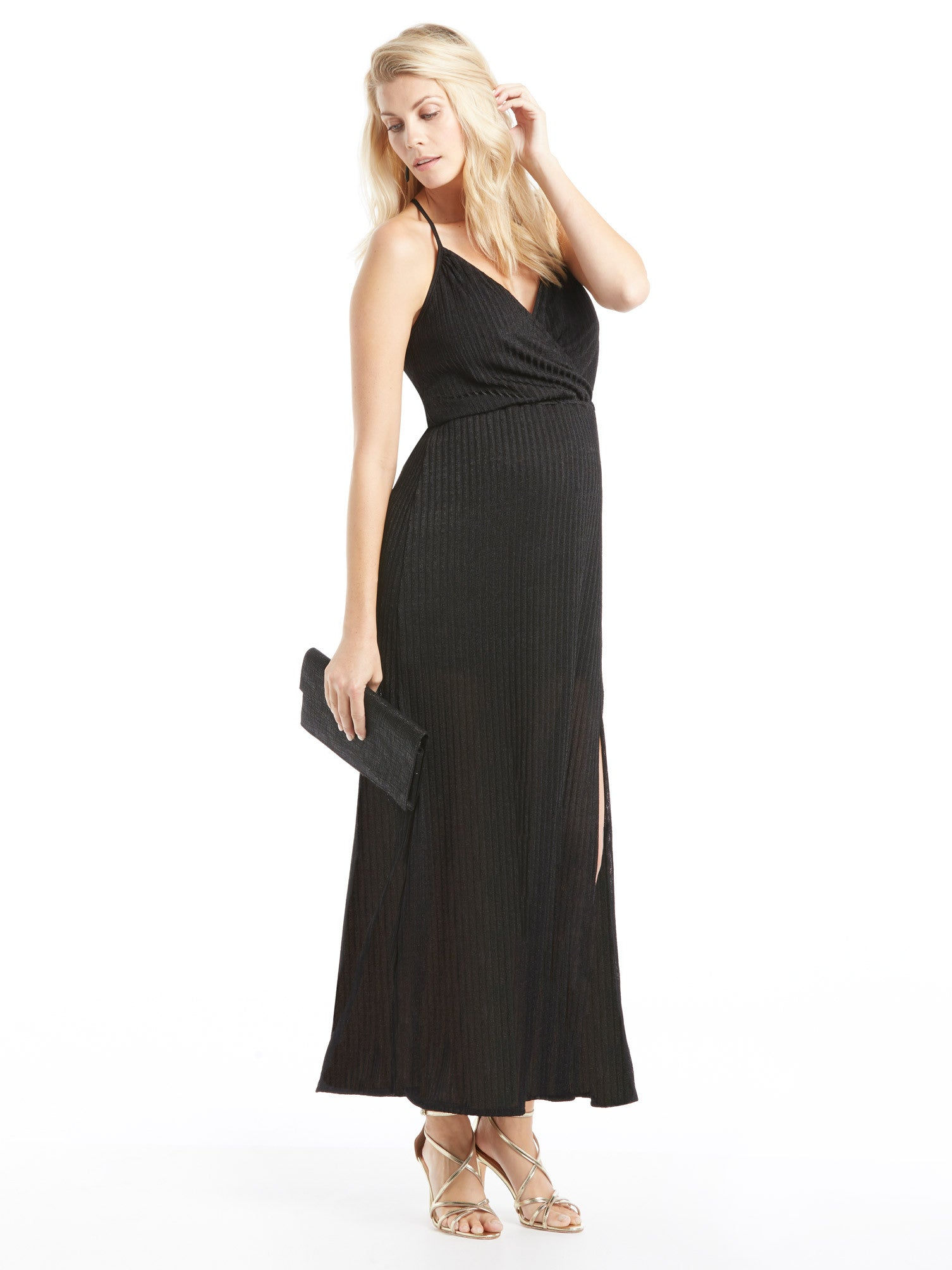 Ella Moss Crossover Maxi Dress - Black | TILDEN