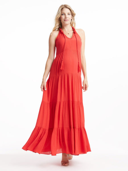 TILDEN | Ella Moss Tiered Maxi Dress - Flame