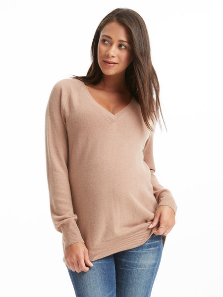 Equipment Asher Cashmere V-Neck Sweater - Camel | TILDEN