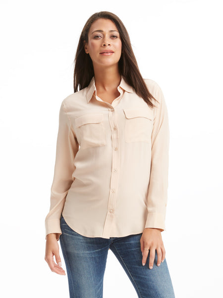 Equipment Signature Silk Shirt - Nude | TILDEN
