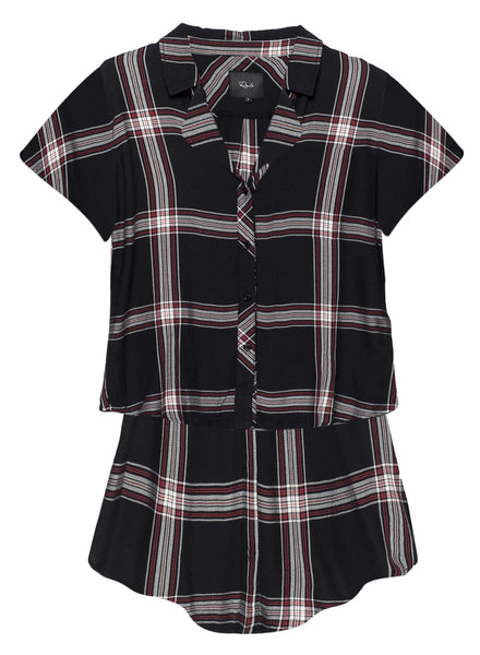 Rails PJ Short Set - Jet Ruby Plaid | TILDEN