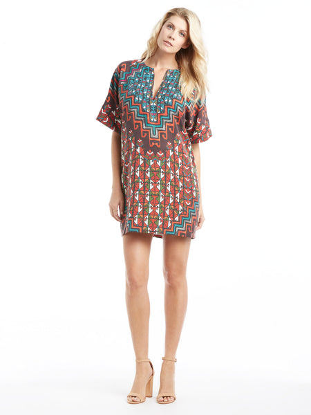 Mara Hoffman Rug Tencel Tunic Dress  - Orange Print | TILDEN