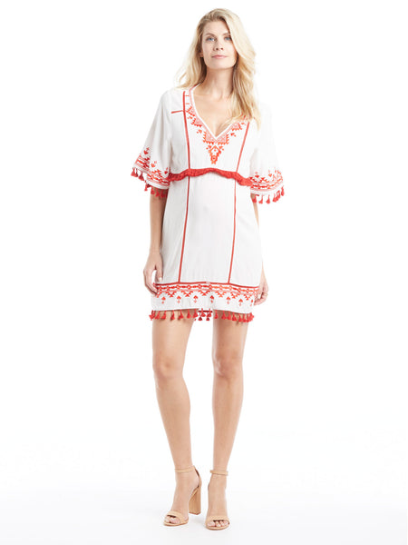 Parker Lagoon Cover Up - White/Red | TILDEN