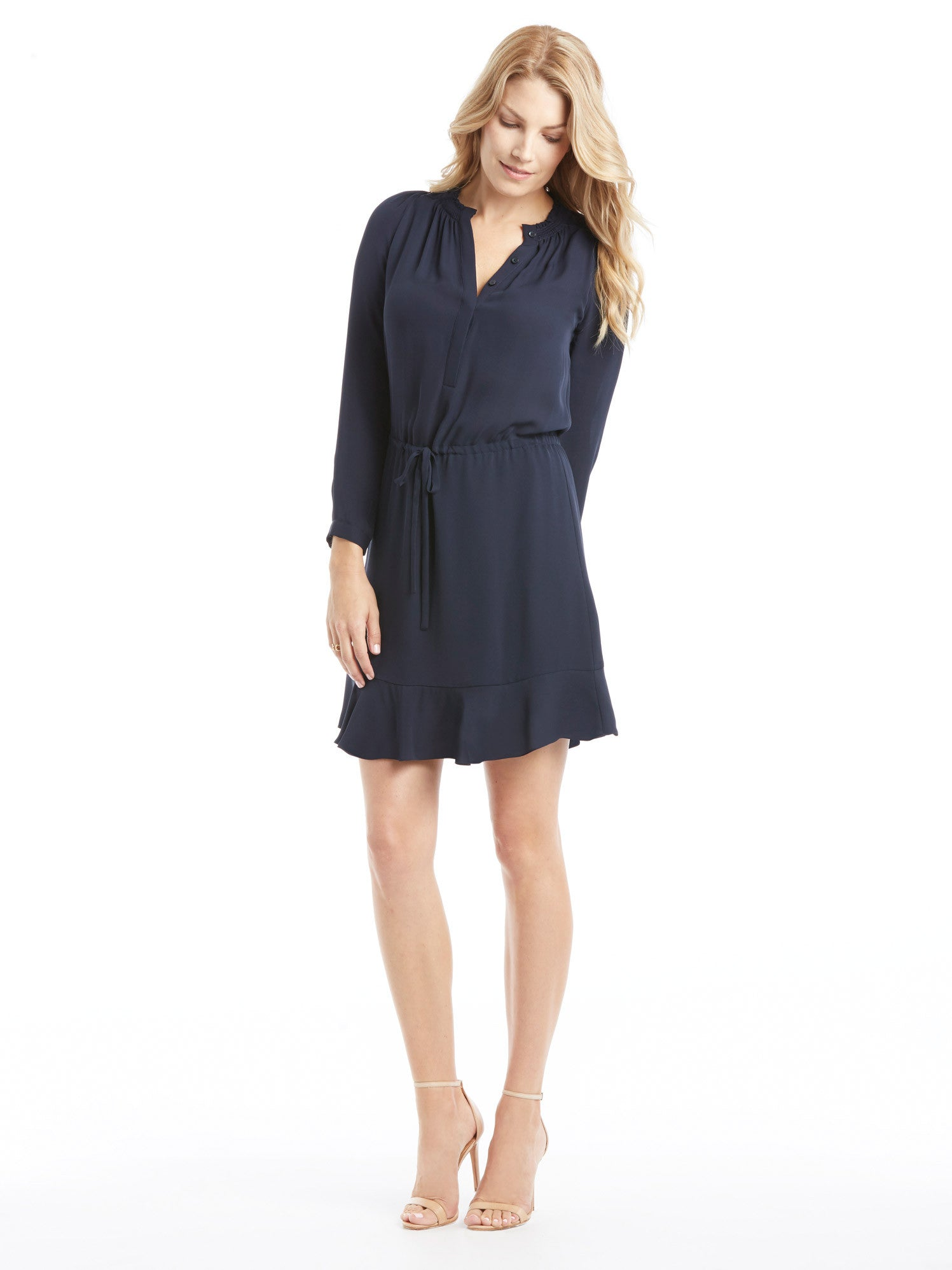 TILDEN | Rebecca Taylor Long Sleeve Navy Silk Dress