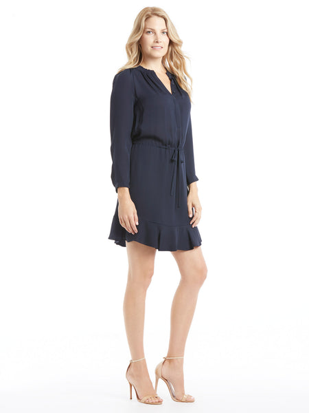 TILDEN | Rebecca Taylor Long Sleeve Silk Elastic Waist Dress