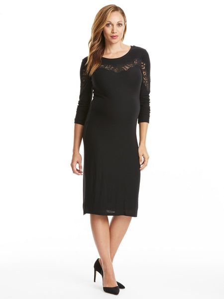 TILDEN | Rebecca Taylor Long Sleeve Lace Inset Jersey Dress