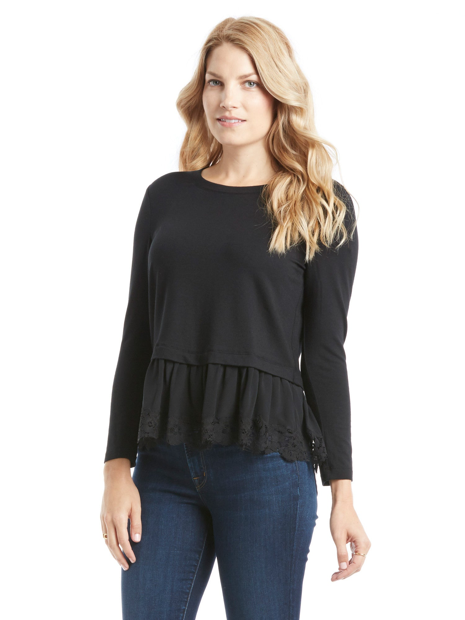 TILDEN | Rebecca Taylor Long Sleeve Lace Hem Top