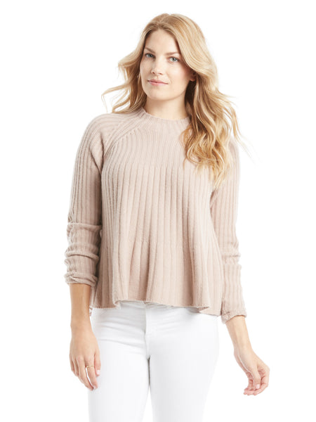 Rebecca Taylor Ribbed Swing Pullover Sweater - Pink Champagne | TILDEN