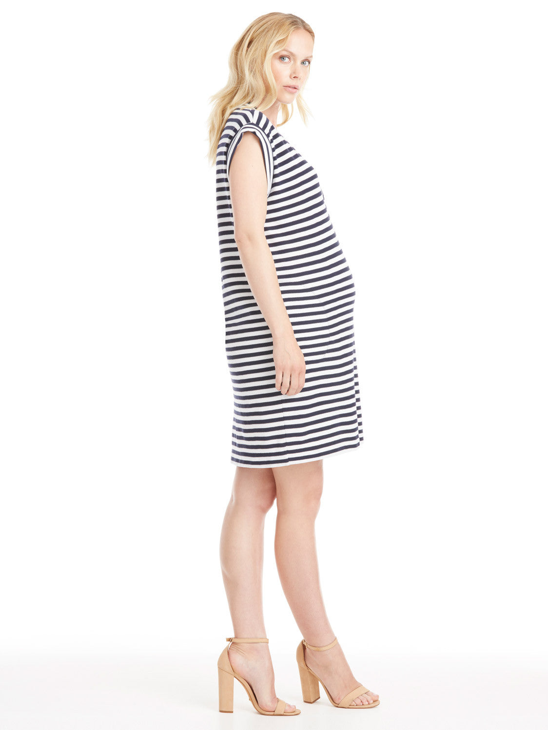 ATM Anthony Thomas Melillo Pique V-Neck Dress - Midnight Stripe | TILDEN