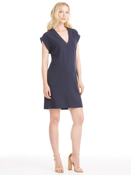 ATM Anthony Thomas Melillo Pique V-Neck Dress - Midnight | TILDEN
