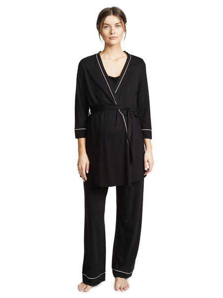 Cosabella Bella Maternity Nursing Pajama Robe Set Black Ivory | TILDEN
