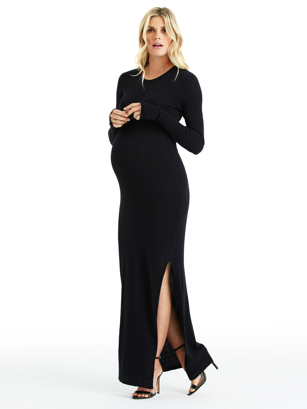 TILDEN | Enza Costa Long Sleeve Slit Maxi Dress