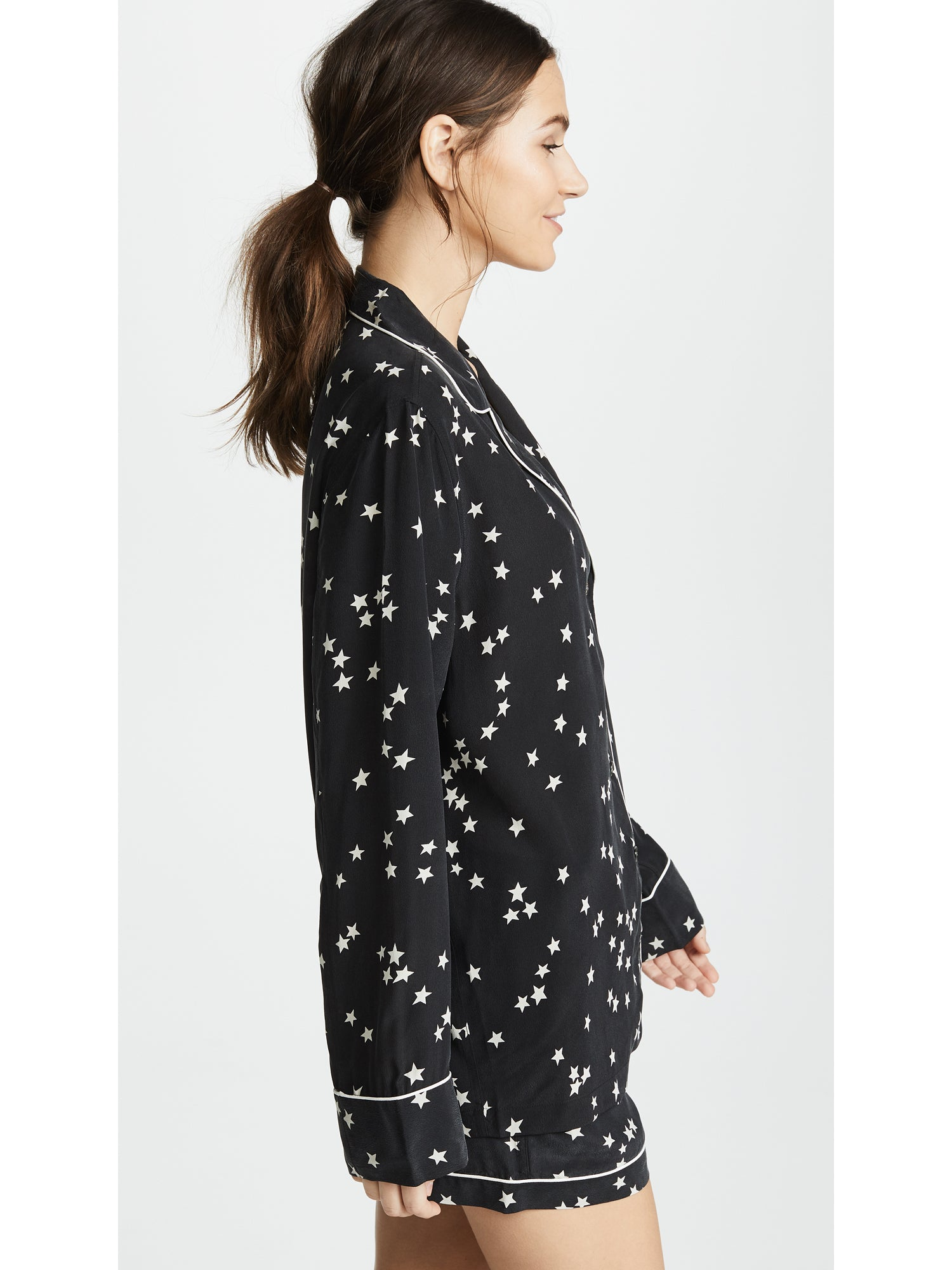 Equipment Lillian Starry Night PJ Pajama Set Black Star Print | TILDEN
