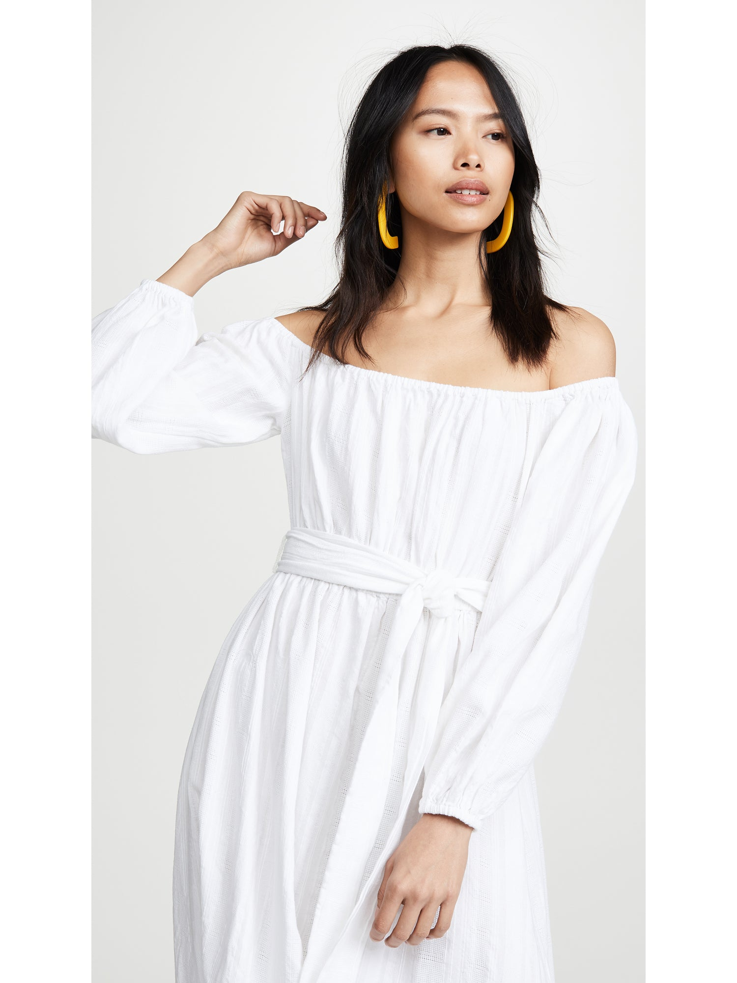 Mara Hoffman Malika Off The Shoulder Maxi Dress - White | TILDEN