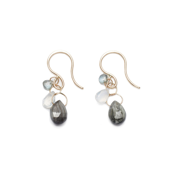 Melissa Joy Manning Grey Cat's Eye Three Drop Earrings | TILDEN