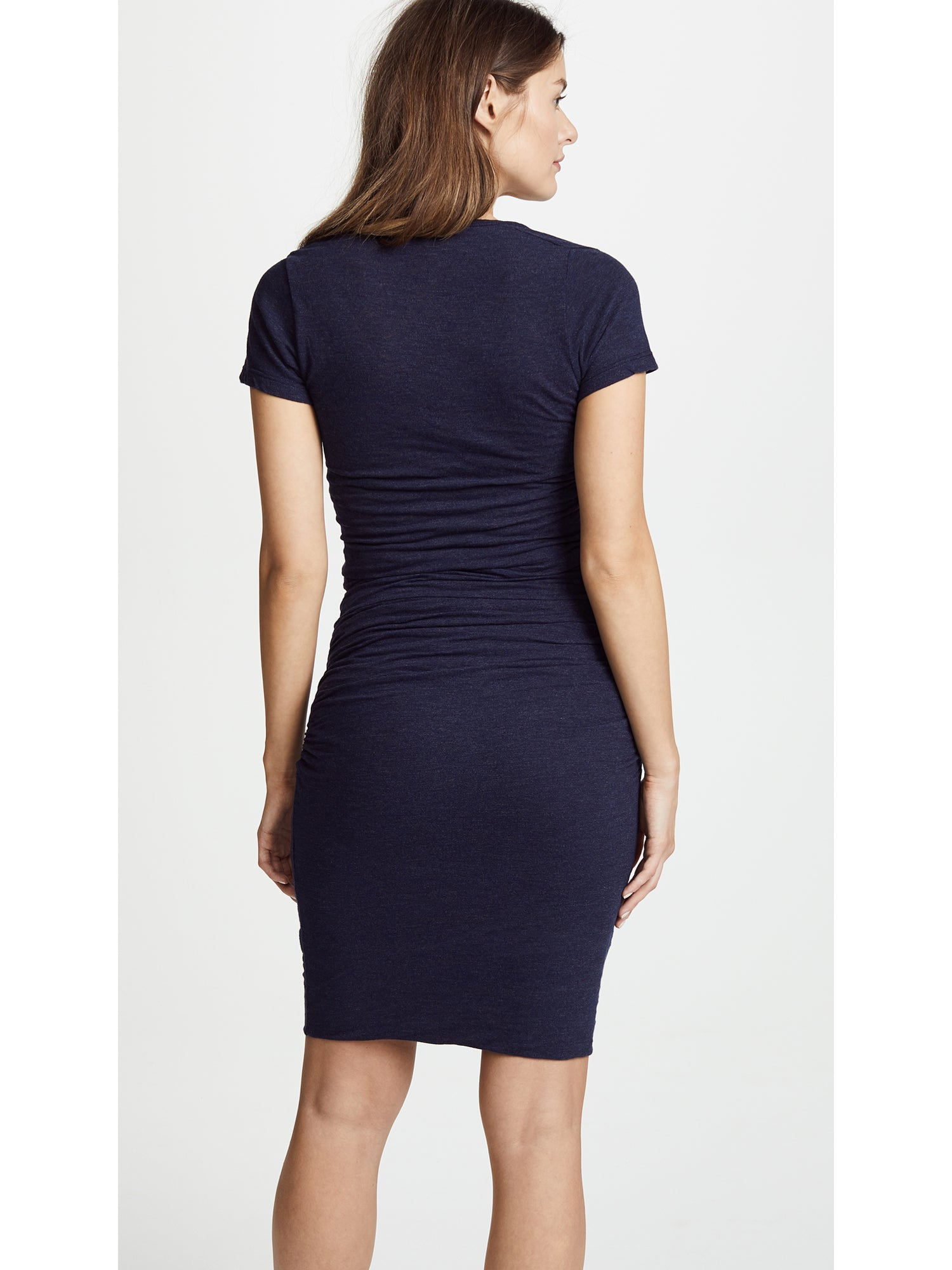 Monrow Maternity Shirred Tee Dress - Navy | TILDEN