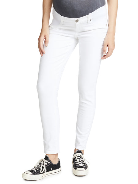 Paige Skyline Skinny Ankle Maternity Jeans - Optic White | TILDEN