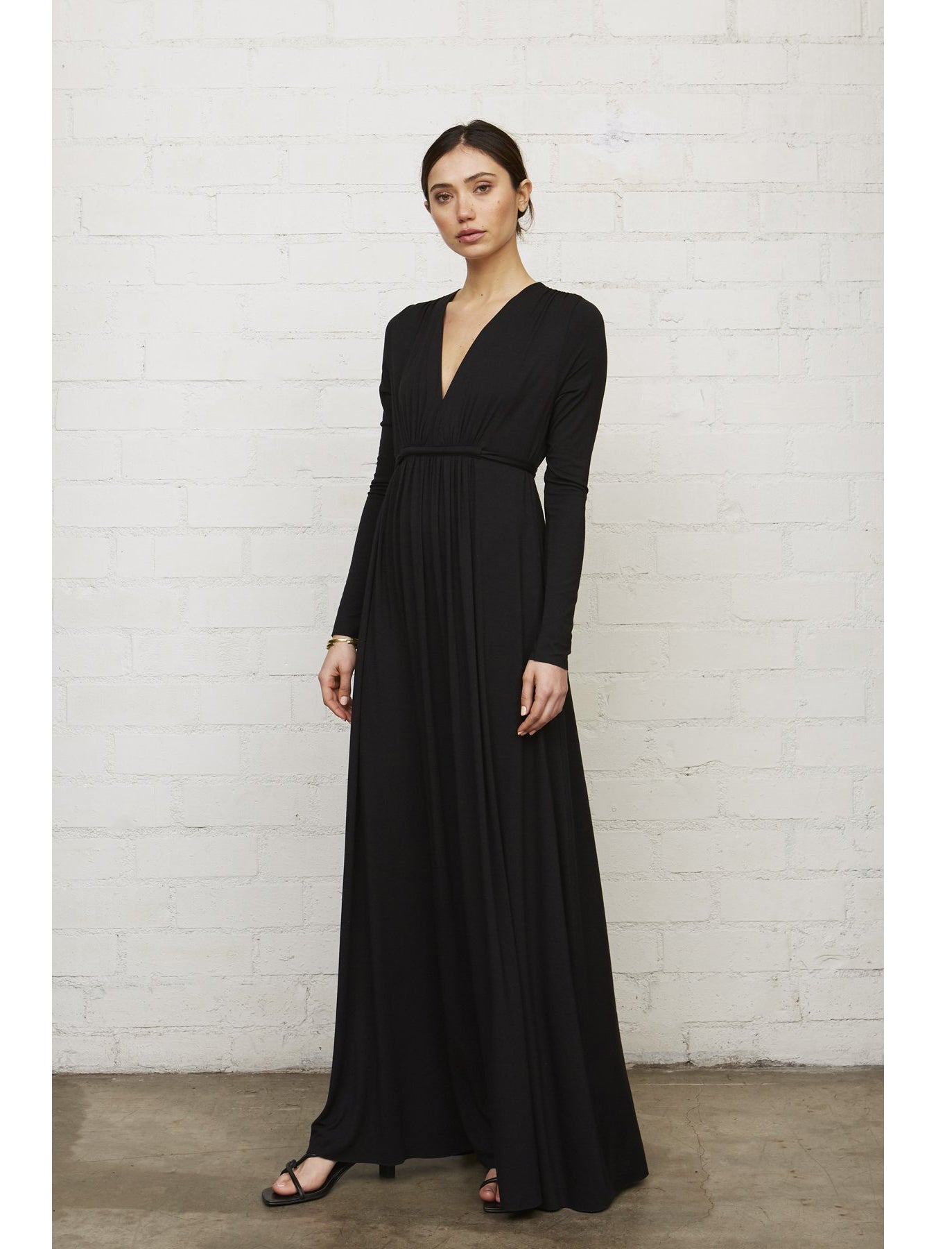 Rachel Pally Maternity Long Sleeve Caftan Maxi Dress - Black | TILDEN