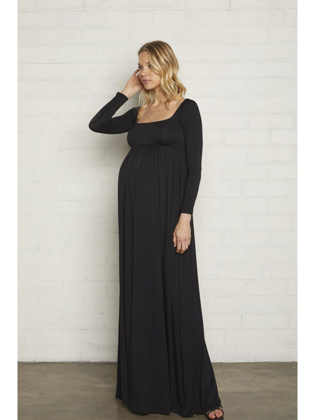 Rachel Pally Maternity Isa Long Sleeve Maxi Dress - Black | TILDEN