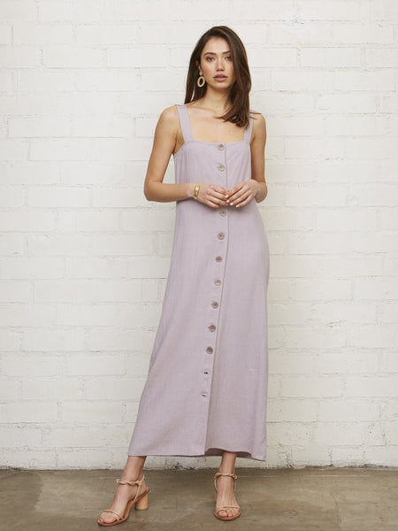 Rachel Pally Linen Rome Button Maxi Dress - Wisteria Purple | TILDEN