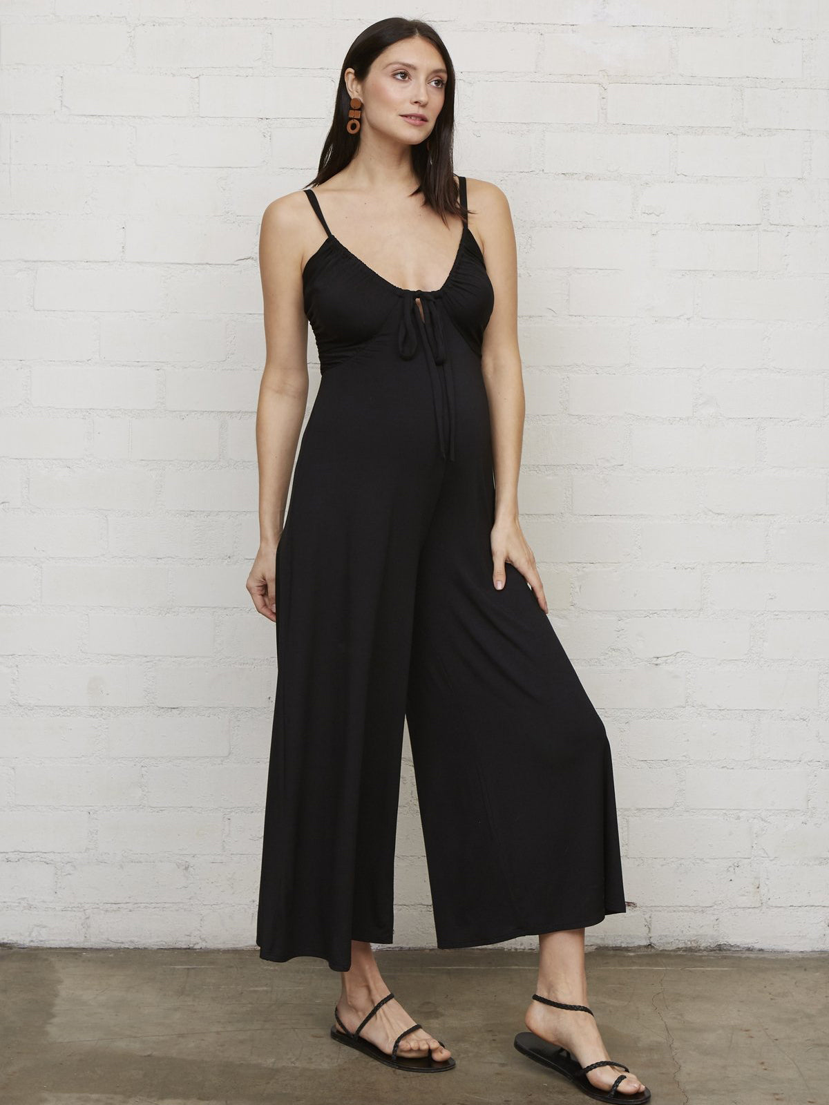 Rachel Pally Maternity Brooks Wide Leg Jumpsuit - Black | TILDEN