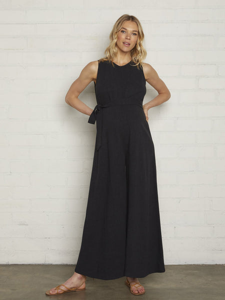 Rachel Pally Maternity Cortez Wide Leg Linen Jumpsuit - Black | TILDEN