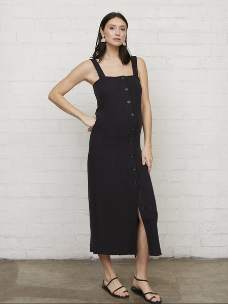 Rachel Pally Maternity Linen Rome Button Maxi Dress - Black | TILDEN