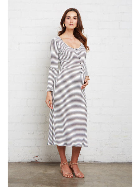 Rachel Pally Maternity Rib Lorelei Dress - Black White Stripe | TILDEN