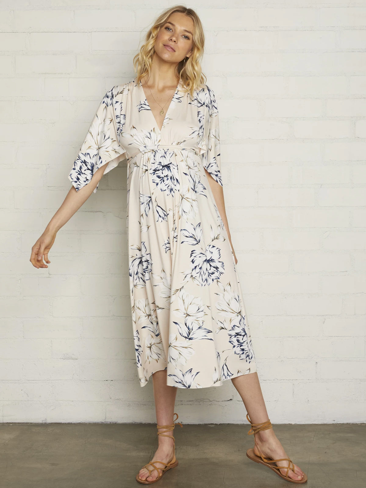 Rachel Pally Maternity Mid-Length Caftan Dress - Fleur Cream Floral Print | TILDEN