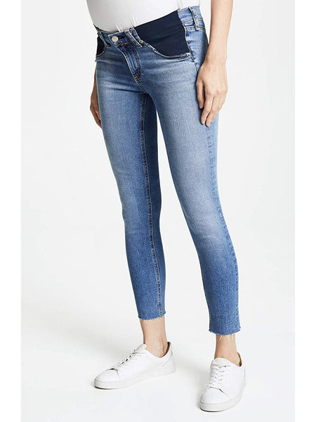 Rag & Bone / JEAN Cropped Skinny Maternity Jeans Levee Light Blue Vintage Wash Raw Hem | TILDEN