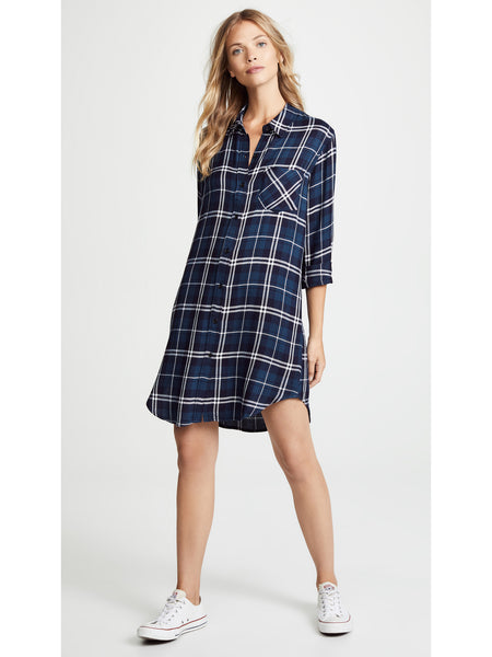 Rails Bianca Shirt Dress - Spruce Green Blue White Plaid | TILDEN