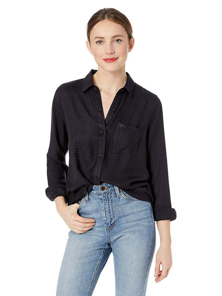 Rails Hunter Plaid Top - Charcoal Shadow Plaid Button Down Shirt | TILDEN