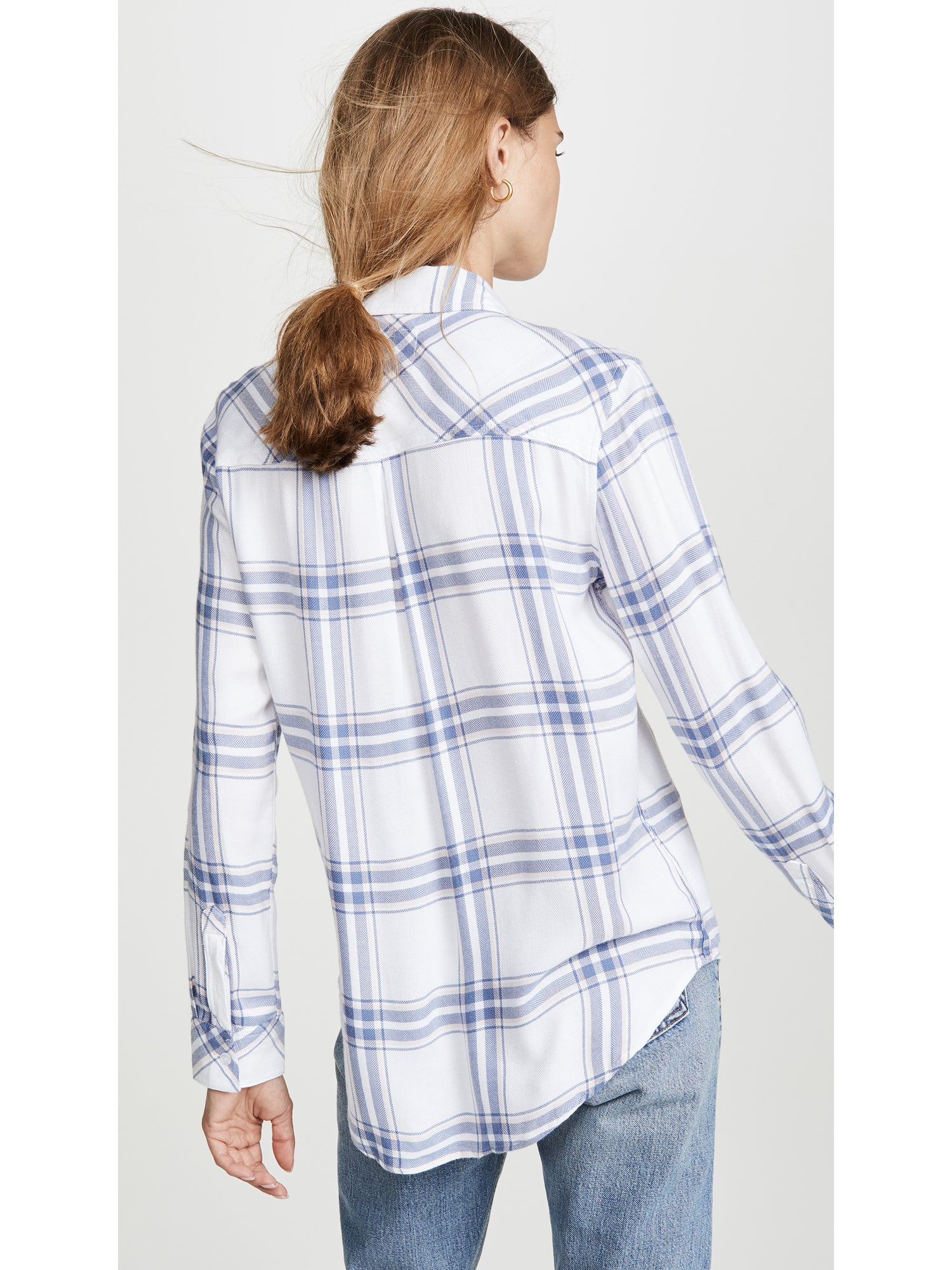 Rails Hunter Top - White Blush Blue Plaid Button Down Shirt | TILDEN