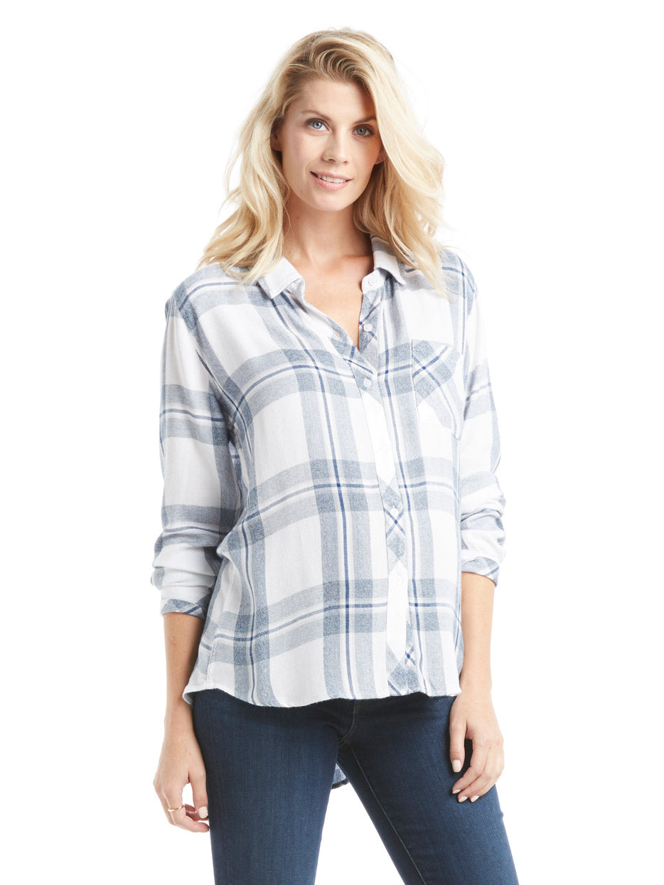 Rails Hunter Top - White Indigo Blue Plaid Button Down Shirt | TILDEN