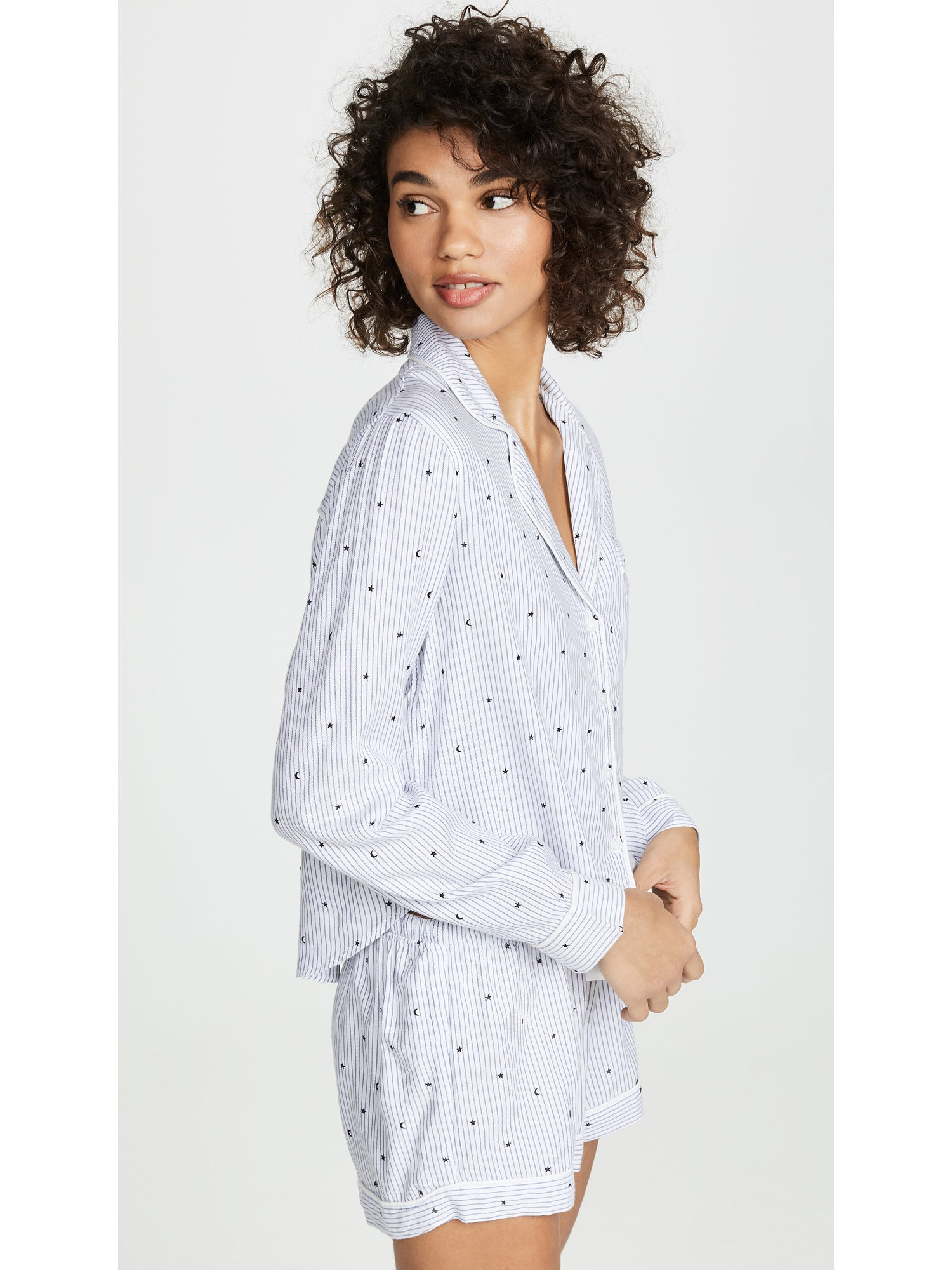 Rails Moon & Stars PJ Set - Blue Print Long Sleeve Pajamas | TILDEN
