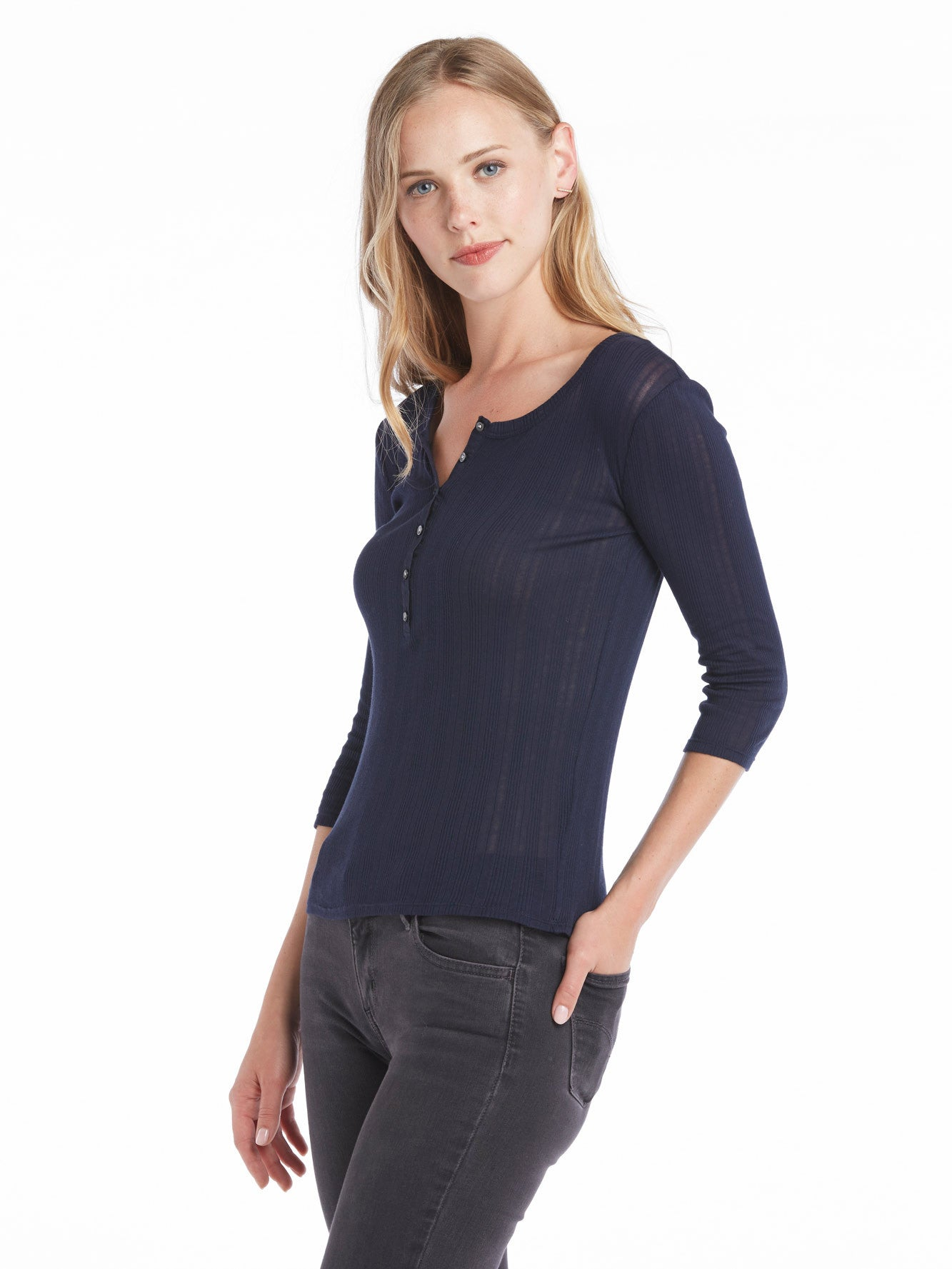 Rebecca Taylor Long Sleeve Mini Rib Henley - Navy | TILDEN