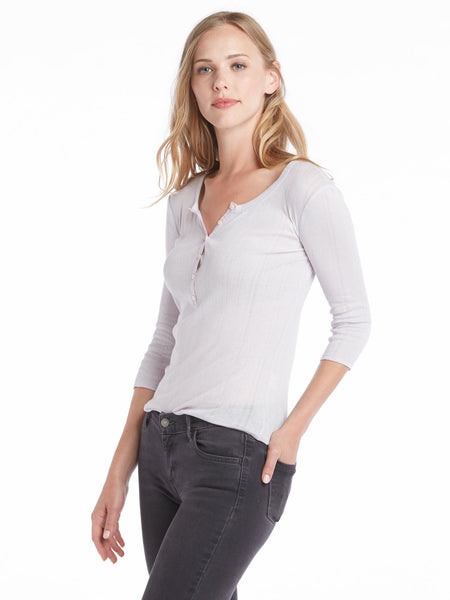 Rebecca Taylor Long Sleeve Mini Rib Henley - Wisteria | TILDEN