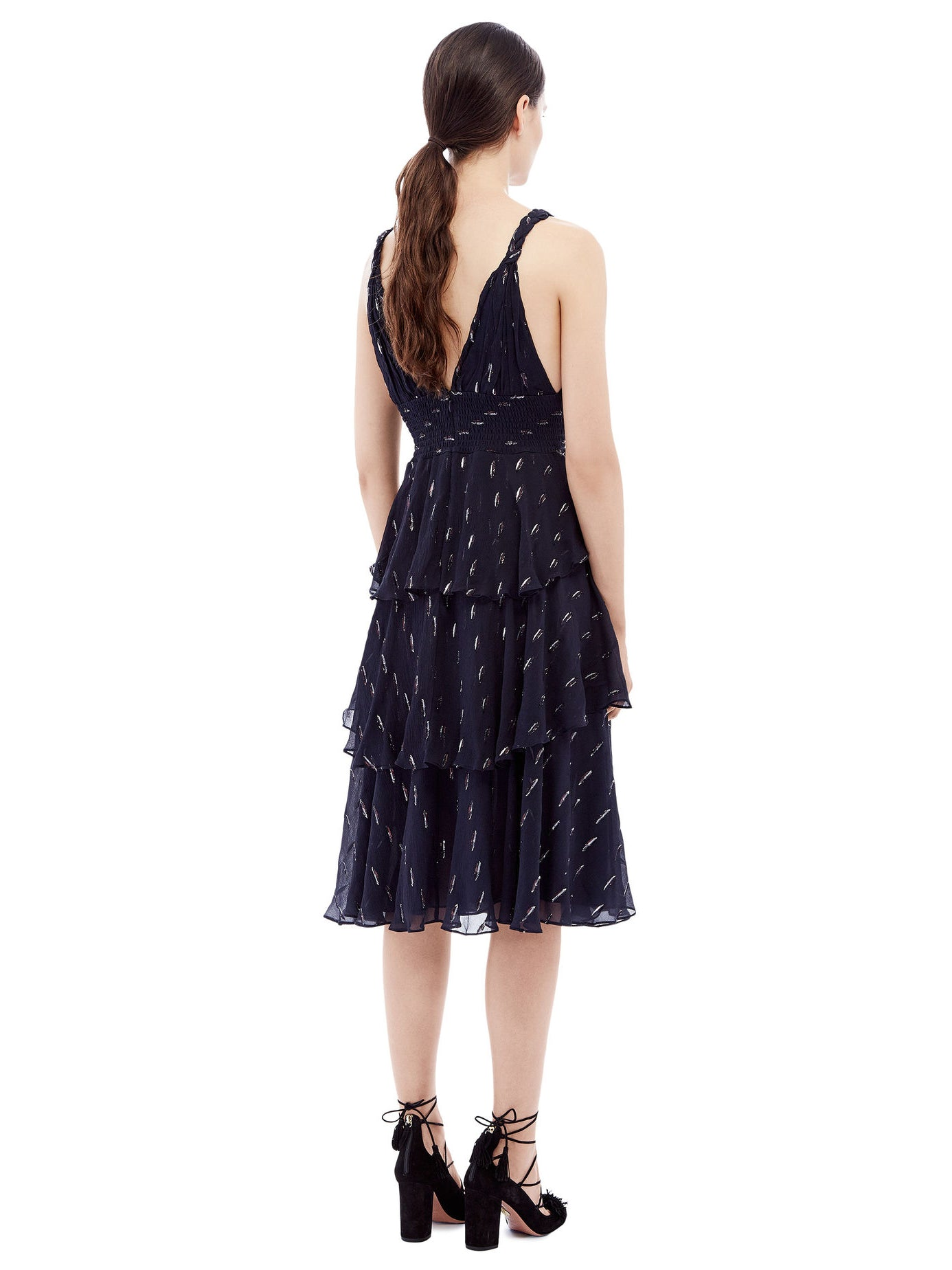 Rebecca Taylor Navy Metallic Tiered Chiffon Dress